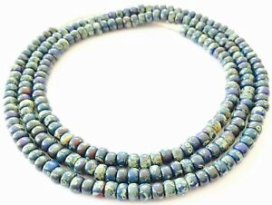 Fine-vintage-Dark-navy-Picasso-matching-4mm-glass-beads-Trade-Beads