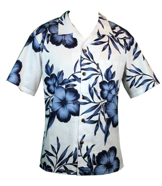 Men Aloha Shirt Cruise Tropical Luau Beach Hawaiian Party White Navy Hibiscus
