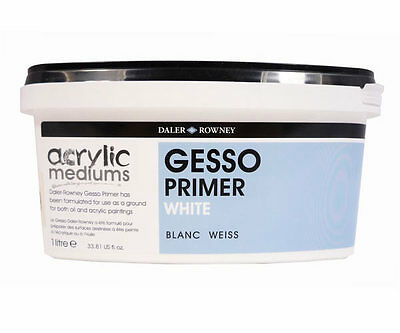 DALER ROWNEY WHITE GESSO PRIMER 1 LITRE FOR ACRYLIC & OIL PAINT CANVAS INTERIOR