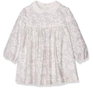 NWT-Mayoral-Newborn-Girl-Vestido-Estampado-Gray-White-Floral-L-S-Dress-6-9mo