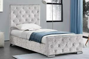 Image Is Loading Girls Crushed Velvet Single Bed Frame With Under