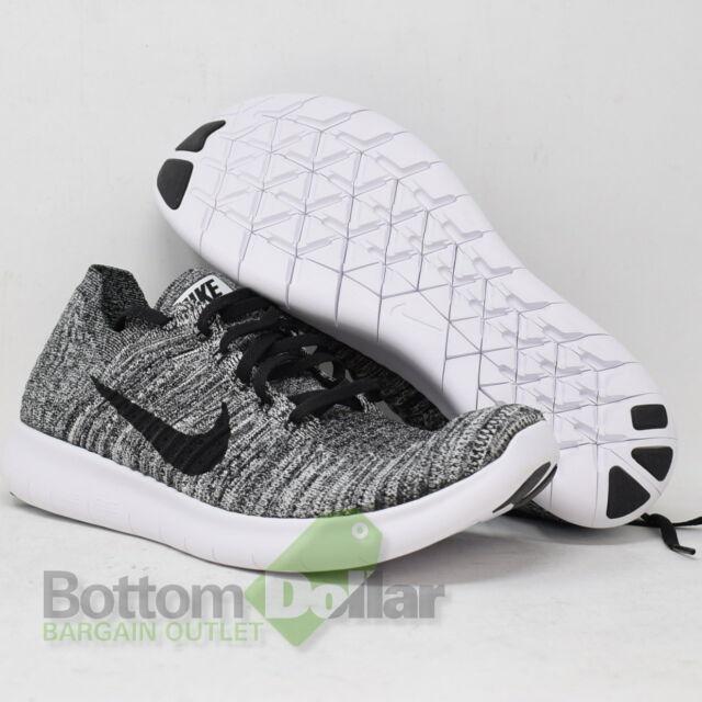 e0137b5d15282 Nike RN Flyknit Mens Running Shoes 9.5 White Black 831069 100 for ...