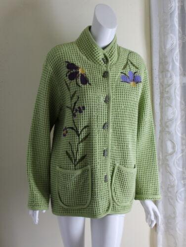 FOCUS -Sz M L Felted Floral Art-to-Wear Cotton qui