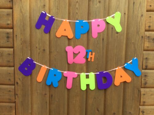 GIRLS HAPPY 12th BIRTHDAY BANNER MULTI COLOURED PARTY BUNTING DECORATION