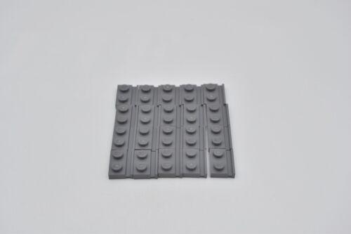 LEGO 20 x Platte 1x2 Führungsschiene neues dunkelgrau newdark grey rail 32028
