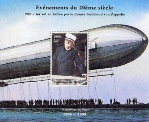NIGER-1998-neuf-sans-charniere-Ferdinand-Von-Zeppelin-1-V-M-S-Dirigeables-ballons-dirigeables