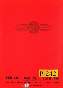 Perico Haroni PBR TM 180/S-200, Centre Lathe, Parts and Assembly Manual