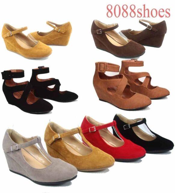 Women's  Round Toe T-Strap Strappy Low Wedge Platform Heel Shoe  Size 5 - 10 NEW