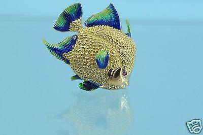 18k Fine Yellow Gold  Ruby Eye Enameled Fish Brooch/Pin Mint 14g