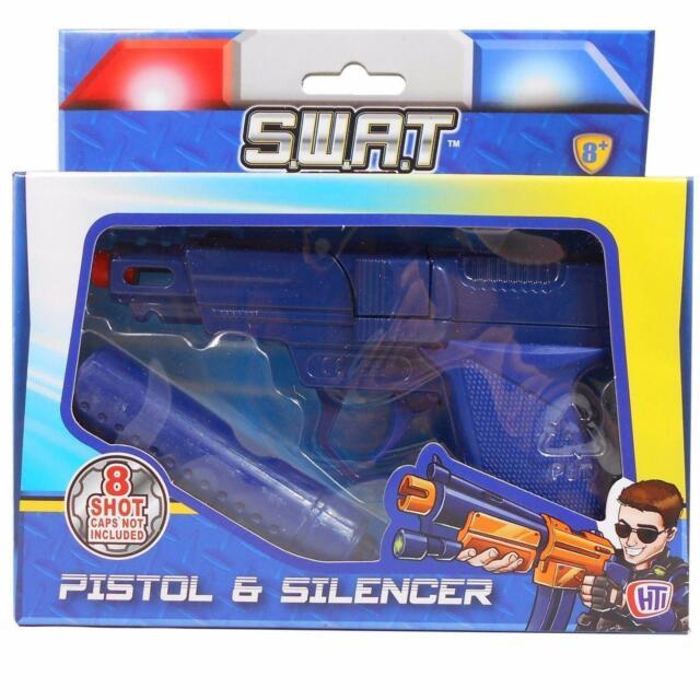 SWAT Mission Pistol /& Silencer Boy Gun Toy Die-cast 8 Shot Ring Roll play 8yr.+