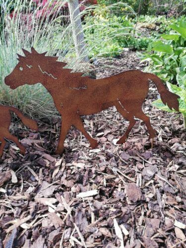 Pferde Figur Rost Optik mit Stecker Landhaus Gartendeko Pferd Beetstecker reiten