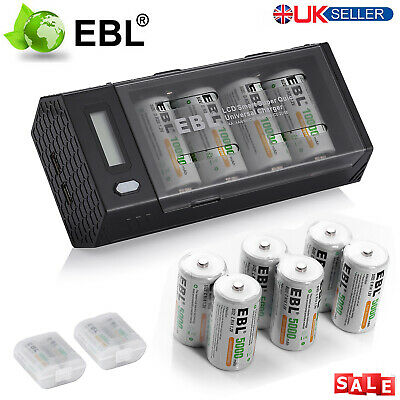 LCD Battery Charger USA 8x EBL 5000mAh NI-MH C Size R14 Rechargeable Batteries