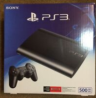 Sealed Sony Playstation 3 Super Slim 500gb Charcoal Black Console Ps3
