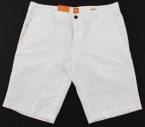0da317c5f Men's HUGO BOSS ORANGE White Twill Cotton Shorts 40 NWT NEW Schino ...