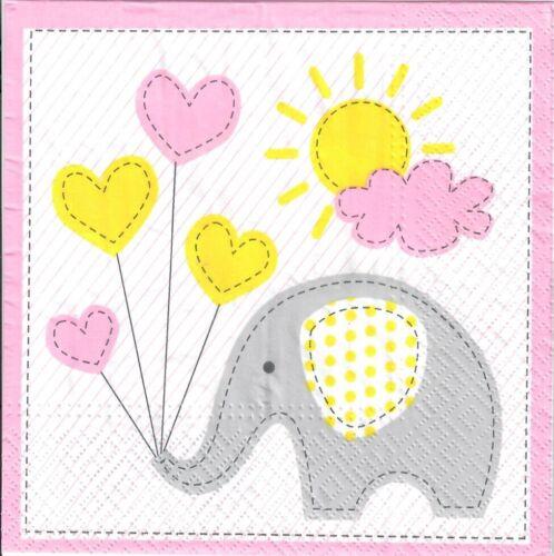 baby elephant New baby girl 4 Single paper decoupage napkins cute design-786