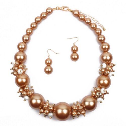 Boucles d/'oreilles Bijoux Set Fashion Femmes Big Bead Perle Chunky Choker Collier