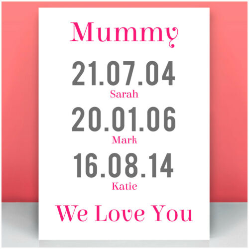 Birthday Christmas Gifts for Mum Mummy PERSONALISED We Love You Dates of Birth