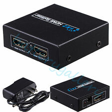 Full HD HDMI Splitter 1x2 2 Port Hub Repeater Amplifier 1 in 2 out V1.4 3d 1080p