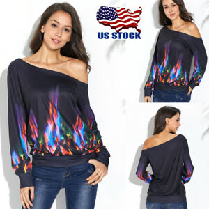 Women/'s One Shoulder Flame Print Tops Casual Long Sleeve Loose T-shirt Blouse US