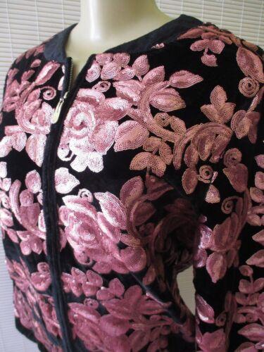 Sequin Bomber Langærmet Joan Jacket Black Nwt Zip Pink M Størrelse Boyce Up xOq1IUX