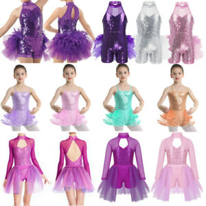 Kid-Girl-Latin-Ballet-Dance-Dress-Sequins-Tutu-Skirted-Leotard-Dancewear-Costume