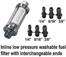 "Inline Low pressure petrol fuel filter classic car 6mm 8mm 10mm 1/4"" 5/16"" 3/8"""