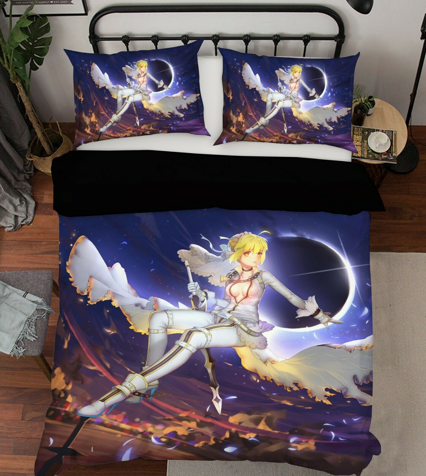 3D Fairy Girl Sky B270 Japan Anime Bed Pillowcases Quilt Duvet Cover Wendy