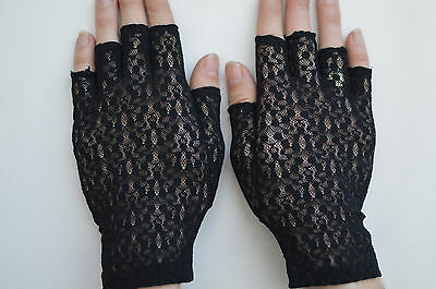 Ladies Lace Fingerless Gloves Black One Size Made in Portugal