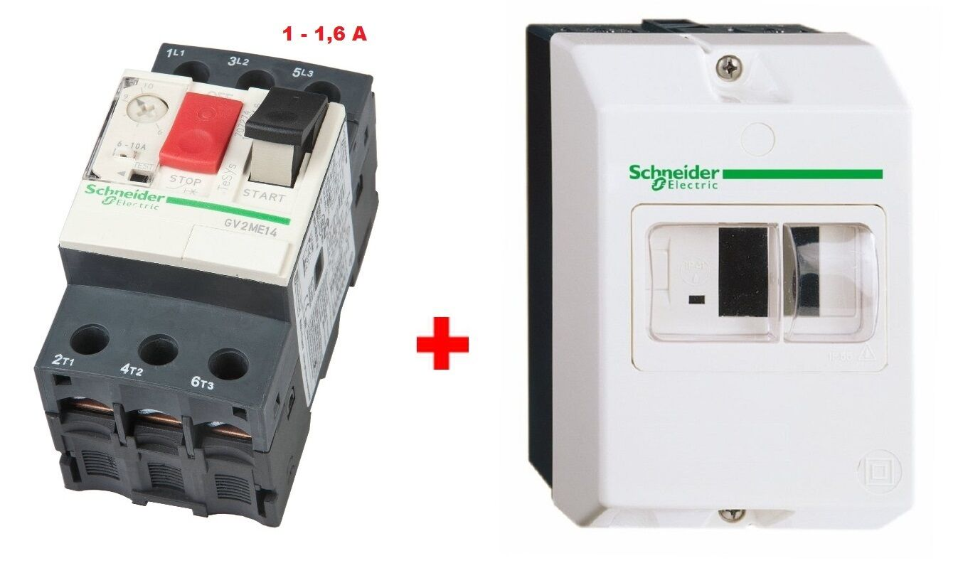 Disjoncteur 1-1,6A + Coffret - SCHNEIDER TELEMECANIQUE GV2ME -  Pompe -955084