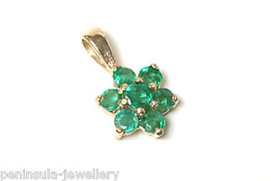 9ct-Gold-Emerald-Cluster-Necklace-Pendant-no-chain-Made-in-UK-Gift-Boxed