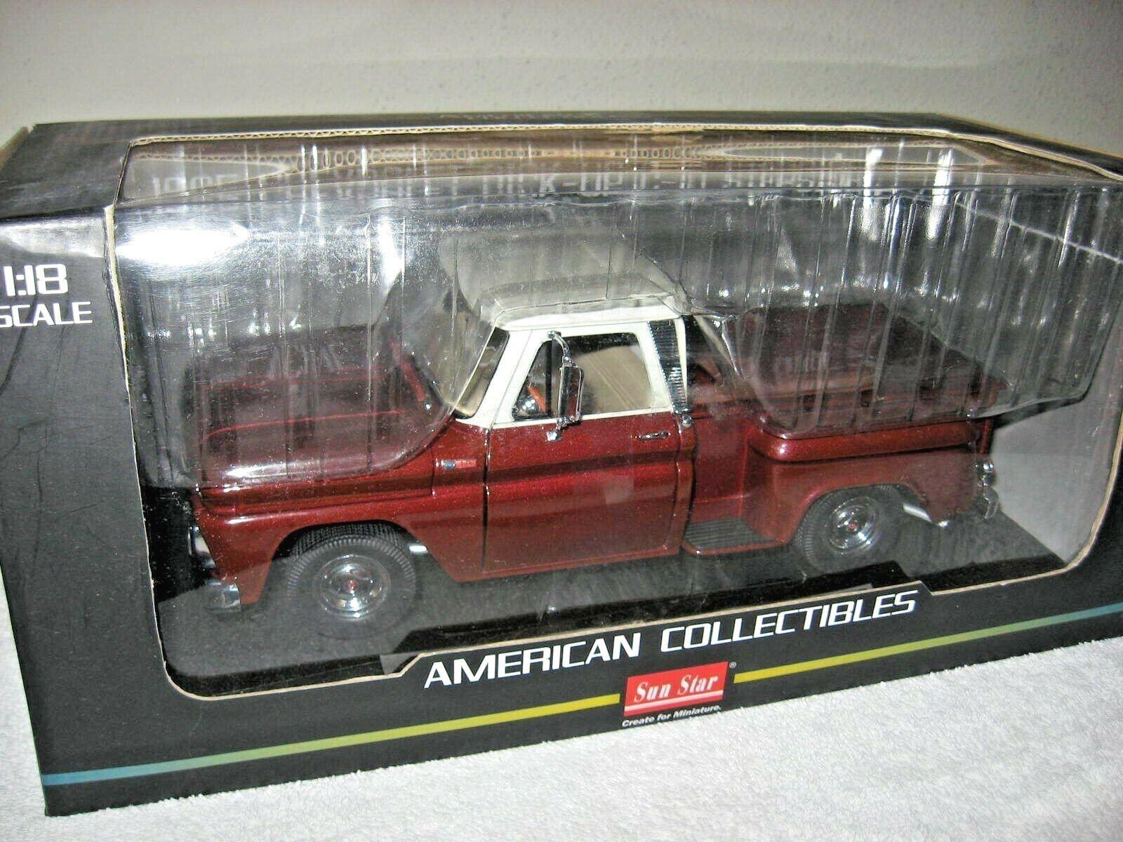 1965 Chevrolet C-10 Stepside Pickup 1 18 Sun Star campana de apertura puertas y portón trasero