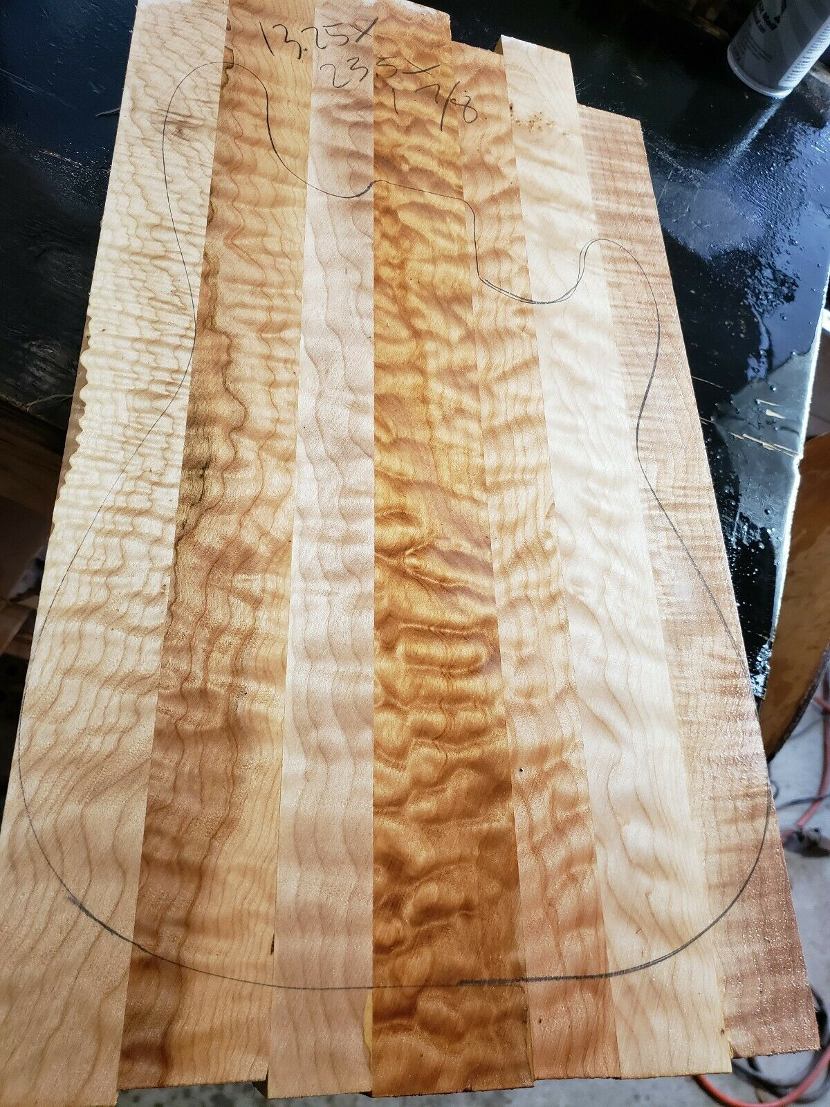 Quilted maple 5a GUITAR or BASS lumber. Exotic wood solid body for luthier.