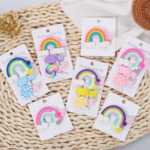 Kids Hair Accessories Hair Clips for Girls Lollipop Rainbow Hairpins Bobby Pins