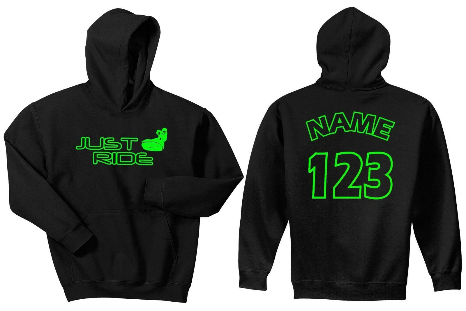 JUST RIDE STAND UP JET SKI PWC SLED CUSTOM RACE NUMBER HOODIE SWEAT SHIRT JUMPER