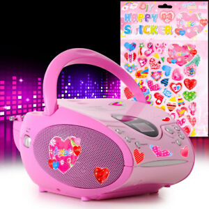 Children-CD-Player-Girl-Music-System-Pink-Heart-Sticker-Fm-Stereo-Radio-Portable