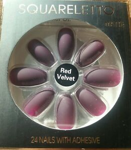 Health & Beauty Artificial Nail Tips Pointed Red Velvet Matte Elegant Appearance Fashion False Nails Primark Squareletto
