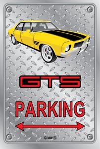 Parking-Sign-Metal-HOLDEN-HQ-GTS-4-DOOR-YELLOW-MOMO-WHEELS