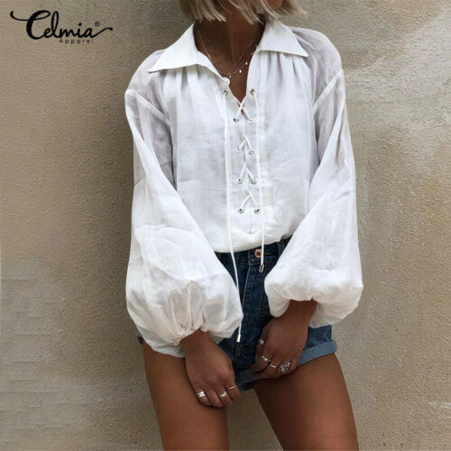 Womens V Neck Blouse Loose T Shirt Puff Long Sleeve Lace Up Tunic Baggy Tops New