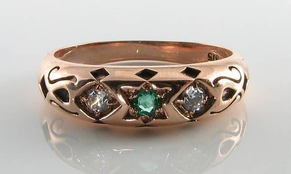 LUSH 9CT 9K pink gold STAR OF DAVID EMERALD & DIAMOND GYPSY RING FREE RESIZE