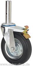 Gerüstrolle lenkbar 200mm Gummibereifung Feststeller Lenkrolle mit Zapfen