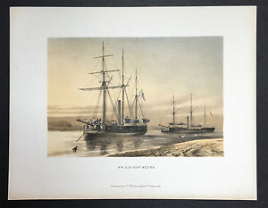 Original-Colored-Lithograph-034-H-M-Gun-Boat-Medina-034-printed-by-Griffin-amp-Co-1880