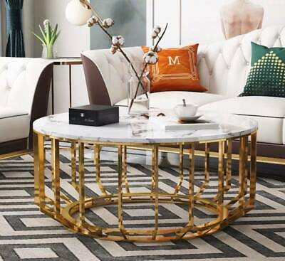 coffee table round marble top white stainless steel base gold silver brand new ebay