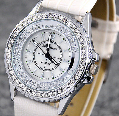 Noble White Lady Wristwatch Bling Diamonds Rhinestones Quartz Fashion Watch