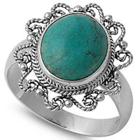 Filigree Style Turquoise .925 Sterling Silver Ring Sizes 6-9