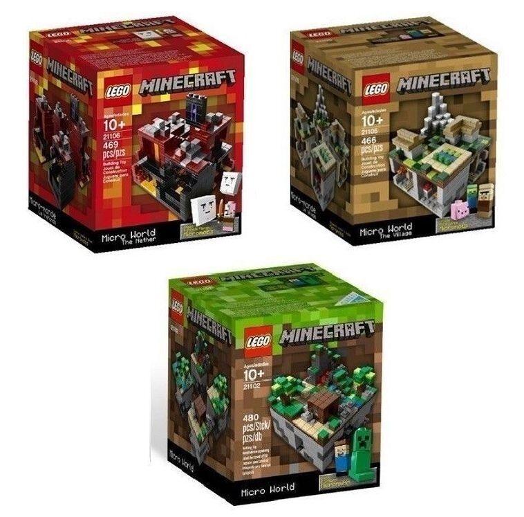 Les 3 MINECRAFT LEGO Sets Forest Village Nether 21102 21105 21106 Micro monde