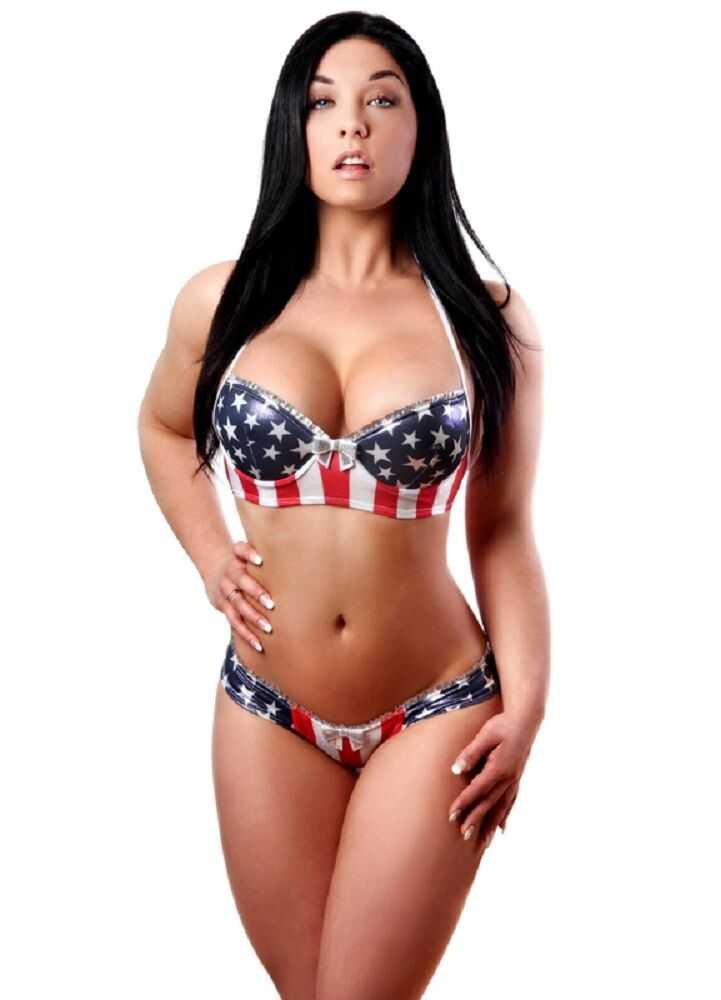 Patriotic American Flag  Molded Cup Bra and  Star Side Panty Set. Made in USA.