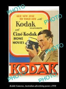 Details about OLD LARGE HISTORIC PHOTO OF KODAK FILM & CAMERA ADVERTISING  POSTER c1950 1