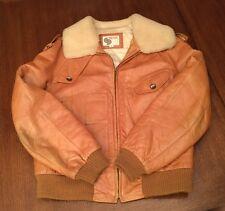 Vintage Men's Silton 1970's Brown Leather & Fleece Bomber Zip Coat or Jacket 44