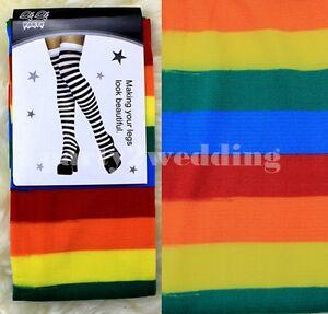 Over-Knee-Socks-Plain-Striped-Rainbow-High-Ladies-Long-Womens-Stripey-Stocking