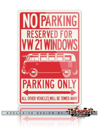 Volkswagen Kombi Bus 21 Windows Reserved Parking Only 12x18 Aluminum Sign VW Car